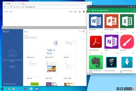 Chrome OS on Chromebook with Microsoft Word and Google Play Store