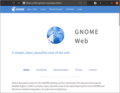 GNOME Web Browser on Ubuntu 19.04