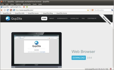 QupZilla Browser on Ubuntu 16.04